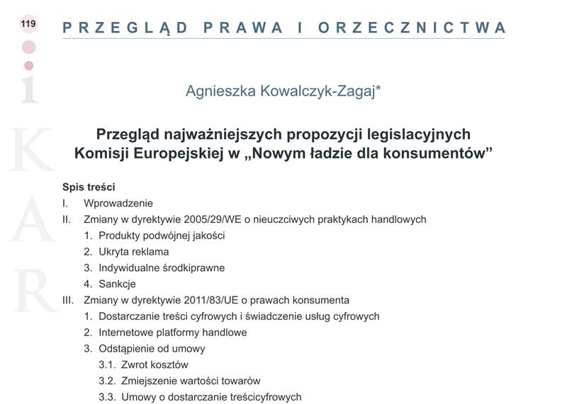 """Przegląd najważniejszych propozycji legislacyjnych Komisji Europejskiej w """"Nowym ładzie dla konsumentów"""""""